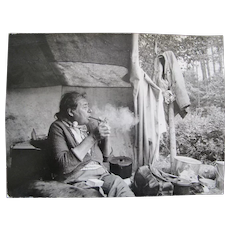 Vintage Photograph NATIVE Canadian CREE Woman Smoking Pipe Paul S Conklin