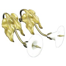 Antique French LILY Flower White Glass Gold GILT Metal Curtain Tie Back Set