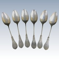 Antique 1860's EGYPTIAN Revival STERLING Silver Coffee Tea Spoon 6pc Set Mono