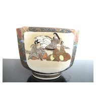 Satsuma Hand Painted Meiji Era Kutani Square Bowl