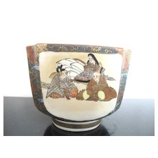Satsuma Hand Painted Meiji Era Kutani Square Bowl