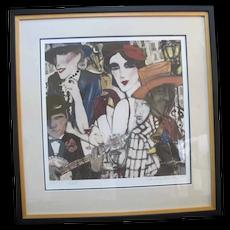 SANDRA Jones CAMPBELL Signed Framed Artist Proof Print Figural Music Club Scene
