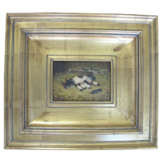 D ARNALD Antique Gilt Frame FARM Scene Oil Painting of Mama PIG & Baby Piglets