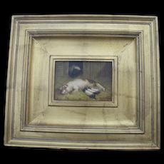 D ARNALD Antique Gilt Frame FARM House Scene Oil Painting of 2 PIGS Piglets