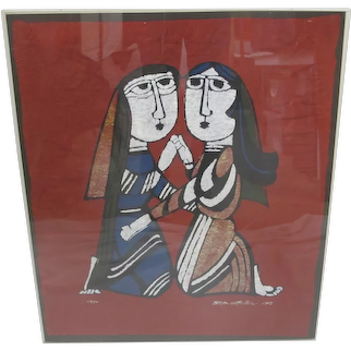 SADAO WATANABE Japanese Signed Framed Katazome MARY Visiting ELIZABETH