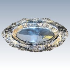 """GORHAM Sterling Silver CLEMATIS Floral Repousse Bread Tray Serving Dish 14"""""""