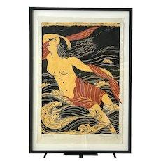 Rare 1978 Japanese Mayumi Oda SIGNED Print APHRODITE Goddess Series Limited Ed