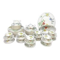 CASTLETON 65pc Floral MALIN Dinner Service for 12 Set ~ Plate Cup Saucer Serving