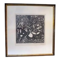 Raoul DUFY Stamped & Numbered PLEASURES of PEACE Lovers Framed Fauve Woodcut