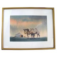 Framed Signed CHINESE Watercolor Desert Painting of CAMELS & Tent