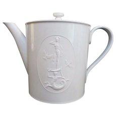 GALATHEE Vintage 1938 ARKADIA KPM White Porcelain Coffee Pot w/Lid