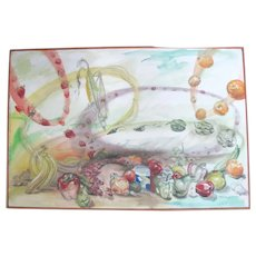 Ron Mcintosh Whimsical Fruits & Vegetables Signed Original Painting on Canvas