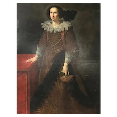 Antique 17th C. Life Sized PORTRAIT of WOMAN Pietro Lauri Du Laurier Italy 1633