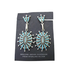 Vintage ZUNI Turquoise Sterling Silver WAATSA Dangle SQUASH BLOSSOM Earrings