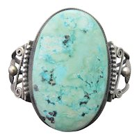 HARRY MORGAN Sterling Silver SLEEPING BEAUTY Turquoise Navajo Cuff Bracelet