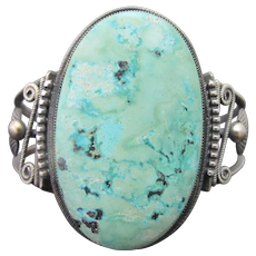 HARRY MORGAN Sterling Silver SLEEPING BEAUTY Turquoise Navajo Cuff Bracelet