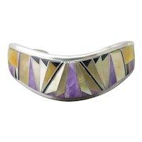 Navajo CALVIN BEGAY Multi-Stone Charoite MOP Onyx Inlay Sterling WAVE Bracelet