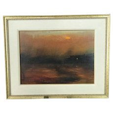GUNNAR ANDERSON Signed Original Acrylic CABIN LIGHT Landscape Painting