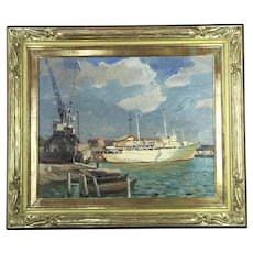 Yuri Pograbnyak RUSSIAN contemporary Oil Painting YALTA PORT Gold Gilt Frame