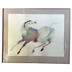 Native American Painter Carol GRIGG Signed Watercolor PAINTED HORSE 1987
