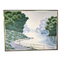 Oregon Artist S BUXTON Pointillism Landscape Oil Painting SAILING SOLITUDE