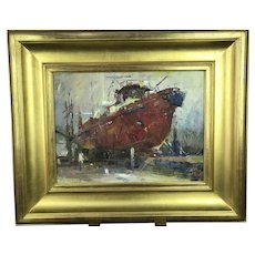 Fine Nautical Red Boat Port IMPRESSIONISTIC Oil Painting Gold Gilt Frame