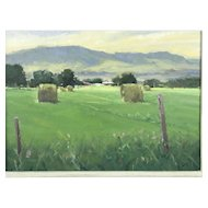 Signed JOSEPH M ORR Landscape Field Oil Painting on Panel PASSING CLOUDS