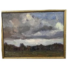 California Artist Signed MICHAEL DANCER Landscape Oil Painting RAIN STORM