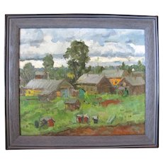 ALEKSANDR KARGOPOLTSEV Russia Pacific NW Farm Village Scene Oil Painting