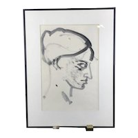 Oregon Artist CS POLITZ Ink on Paper Drawing Side Head FEMALE Modern Art Portrait