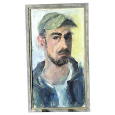 California Artist Signed ROGER BARR Untitled Oil Painting PORTRAIT Of Man