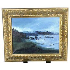 California Artist Signed Robert DEVEE Deep Blue Seascape Oil Painting