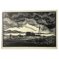 CHANNING SMITH Signed Limited Edition Black & White Woodblock RACING the RAIN