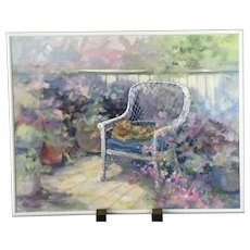 Oregon Artist MILLIE Van SICKLE Impressionistic Oil Painting CAT on Chair Flowers