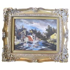 Signed KALLMAN Impressionist Oil Painting VILLAGE Scene Ornate Gilt Frame