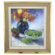 Oregon Contemporary Artist Thomas COGLEY Grapes Flowers STILL LIFE Oil Painting