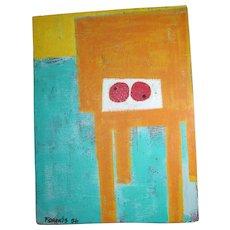 Signed Peter FORAKIS Mid Century Mod ABSTRACT Geometric Multi-Media Painting Art Pabst Estate