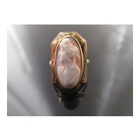 Coral Cameo Ring in 10k Yellow Gold, Victorian
