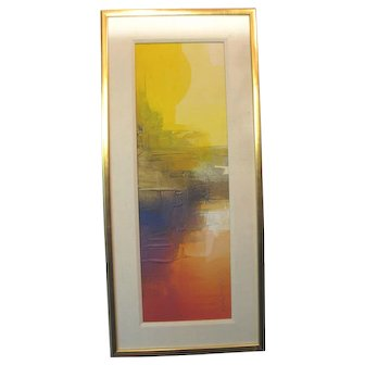 Signed Framed Colorful MID CENTURY Mod Modern ABSTRACT Art Oil Painting