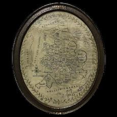 Antique c1800 FRAMED Needlework Sampler MAP of England & Wales