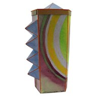 Abstract Modern Art Mixed Media Paper & Wood Colorful Box Signed T Moyer.