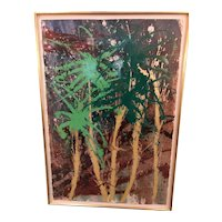 Large Framed DALE CHIHULY Splatter Painting PALM FRONDS on Paper