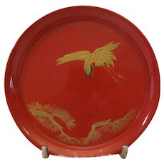 Red Japanese Lacquer Tea Plate Dish w/Gold Crane