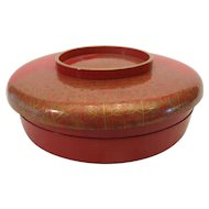 Large Lacquer Very Fine Red & Gold Crane & Tree Detailed Rice Bowl w/Lid