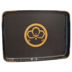 Large Antique Japanese Wajima Lacquer Black w/Gold Serving Tray