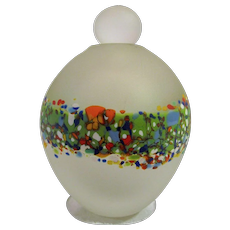 Signed CARLIN Modern Abstract Multi Color Art Glass Stoppered Bottle Bright