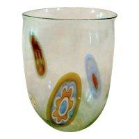Signed Seguso Viro Italian Murano Clear Art Glass Colorful Flowers Petite Vase