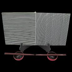 Graphic Black & White Striped Glass Art Sushi Service For Two by Claudia Borella