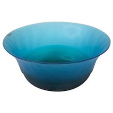 Large Italian Murano Art Glass Bright Blue Punch Bowl By VeArt