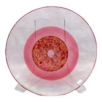 Arne Jon JUTREM Norway Large Clear Cased PINK Red Speckled Shallow Bowl Plate